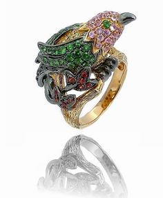 Multi Sapphire Hummingbird Ring in Solid 18k Gold only $2,850.00 - Animal and Insect Jewelry