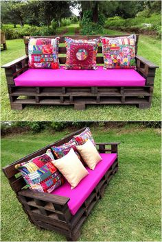 Now we are in the garden to show an idea with which the garden can be adorned as well as arrange a seating area to enjoy with the friends. The pallets are painted dark brown for this upcycled wood pallet garden furniture creation and the fabric for the seats is shocking pink, the contrast is amazing.