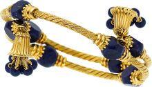 Estate Jewelry:Bracelets, Lapis Lazuli, Gold Bracelet. ...