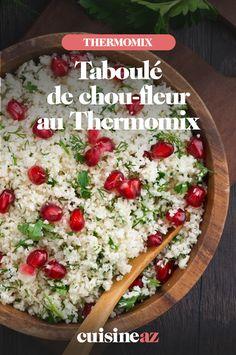Le taboulé de chou-fleur au Thermomix est une recette facile et prête en 5 minutes.  #recette#cuisine#robotculinaire#thermomix #taboule#choufleur Robot, Grains, Rice, Cilantro, Cooking Recipes, Mint Bouquet, Sprouts, Robots, Seeds
