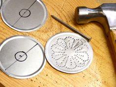 Mason jar caps.  Great idea for used lids.  Make windchimes