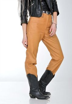 1d356f7506 Womens Vintage Real Leather High Waist Trousers Pant