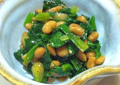 Stewed Spinach with Natto Recipe -  Very Delicious. You must try this recipe!