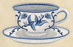 Blue Willow Tea - Cup 1 design (K8130) from www.Emblibrary.com