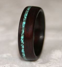 Custom Wooden Ring with Stone Inlay