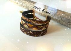 Bracelet manchette triple tissage en perles Miyuki délicas tissées à la main. Marron, doré, mocca, moutarde....