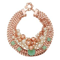 Already in my collection. 3 necklaces in 1 - to wear together or separately. Amazing. Stunning. Statement piece. Rich rose gold chain, embellished with pearls pearls and beautifully cut green crystals. MIMCO-addict.