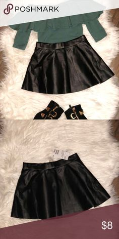 Black leather skater shirt Black leather skater skirt ONLY.  (Too & shoes not included) H&M Bottoms Skirts