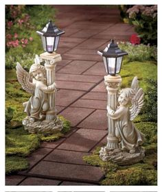 Set of 2 - Solar Angel Garden Lantern Cherub Statue Lights Walkway Garden Patio