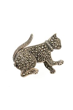 Vintage 925 Sterling Silver & Marcasite Playful Kitty Cat Brooch.