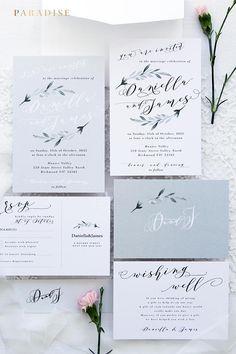 Jane Set Wedding Invitations, Hand Painted Watercolour Elements, Wedding Invitation Sets, Elegant Invitations, Calligraphy Invitations