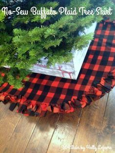 Gardening Diy no sew buffalo plaid christmas tree skirt - You might want to grab an old fleece blanket after seeing her genius trick Country Christmas, Winter Christmas, Christmas Holidays, Christmas Decorations, Buffalo Check Christmas Decor, Christmas Wreaths, Tree Decorations, Buffalo Plaid Christmas Ornaments, Merry Christmas