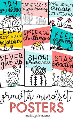 growth mindset in your students with these adorable cactus theme printable posters! {from The Designer Teacher}Cultivate a growth mindset in your students with these adorable cactus theme printable posters! {from The Designer Teacher} Classroom Community, Classroom Posters, Classroom Design, Classroom Displays, Future Classroom, Classroom Themes, School Classroom, Classroom Organization, Classroom Management