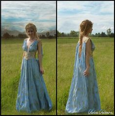 Daenerys Qarth Blue Dress with Belt included - Khaleesi Gown - Game of Thrones Cosplay