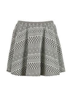 Texture tribal print skater skirt