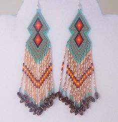 Southwestern Native American Beaded Turquoise Copper Earrings 2