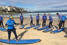 Asylum seekers in western Sydney have been learning to surf at Bondi Beach. For some, it was their first time on any beach. (Image: ABC News/Mohamed Taha)