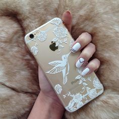white nails with henna phone case ! #Milkywaycases