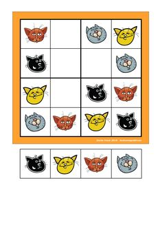 Board and tiles for the sudoku. Laminate and cut out the board and tiles. add hook and loop tape and the sudoku is ready. By Autismespektrum Hook And Loop Tape, Halloween Activities, Speech Therapy, Games To Play, Classroom, Learning, Board, Kids, Literacy Activities