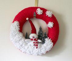 Snowman Wreath Winter Wreath Red Wreath Felt by TheBakersDaughter