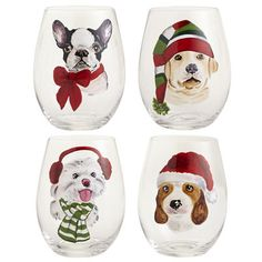Christmas has gone to the dogs—and that's a good thing. Our quartet of handblown glasses features cute pooches, painted by hand and dressed for the winter weather. It's the perfect gift for dog lovers.