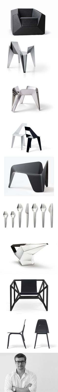 Thomas Feichtner / FX10 lounge chair / Pixel chair / fruit bowl / Axiome chair / Carbon char / cutlery / Viennese pot / M3 chair / Tram chair / deconstructive