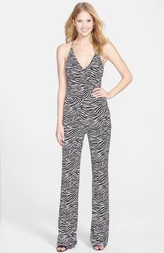 MICHAEL Michael Kors Wide Leg Zebra Print Jumpsuit available at #Nordstrom