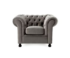 Sessel Chesterfield, silbergrau, B 108 cm | Westwing Home & Living