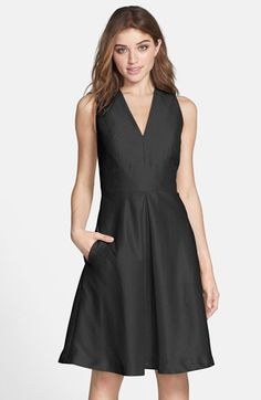 Alfred Sung V-Neck Dupioni Cocktail Dress | Nordstrom