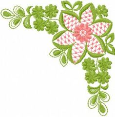 Flower corner free machine embroidery design. Machine embroidery design. www.embroideres.com