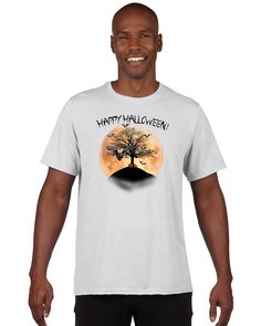 "Adult ""Happy Halloween"" full moon, bats and creepy tree T-shirt"