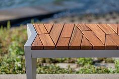 Boardwalk Bench with Atlantic City Boardwalk FSC® Recycled reclaimed Cumaru hardwood slats and Aluminum Texture powdercoated frame