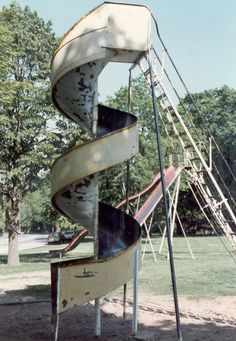 """Crapo Park-Burlington Iowa Curly slide, I have so many memories of climbing the ladder and playing """"Clog the Drain"""" with my siblings."""