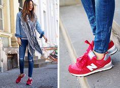 new balance sneakers, jean jacket, blanket scarf