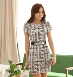 2014 cheap dresses elegant women clothing above knee length formal dress with belt short sleeve black white S-XXL (E-wear)