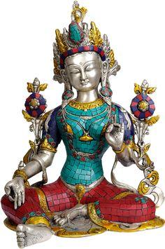 Goddess Green Tara (with Inlay Work)