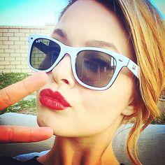 Sasha Pieterse rocks the red lip lipstick. | Pretty Little Liars