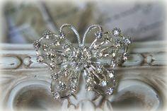 Rhinestone Butterfly Brooch  Crystal Brooch  by TresorsdeLuxe, $4.95