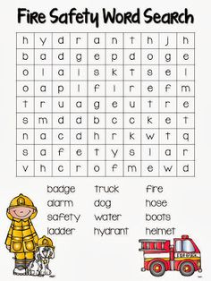 Second Grade Stories: Fire Safety Fun -- free word search and links to many other resources