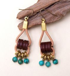 Beaded Leather Earrings by Erin Siegel Jewelry, via Flickr