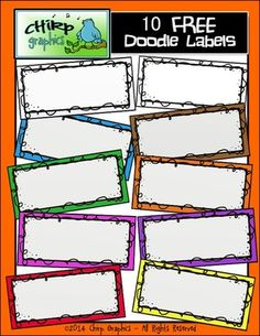 FREE Doodle Labels - Chirp Graphics from Chirp Graphics on TeachersNotebook.com -  (10 pages)  - 10 FREE doodle labels!  Labels offered in blackline, black and white, and 8 different colours!
