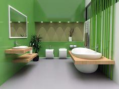 Zeitgenössische grüne Badezimmer mit weißen Wanne, Toilette und Waschbecken mit Naturholz