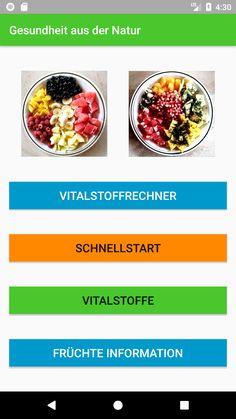 Hauptmenu Früchteapp
