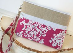 iPhone/Samsung Clutch Wristlet ~ Zipper Pouch Clutch in Catherine and Linen