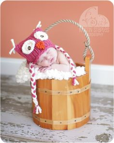 love the colors in this one! and her daddy's bucket! and the adorable owl hat!