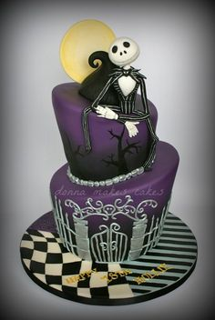 Jack Skellington / Nightmare before christmas topsy turvy birthday cake -- Donna Makes Cakes