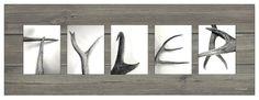 ''Antler Letter'' Personalized Block Mount Artwork | Bass Pro Shops #personalizedartwork #antlers #namesign