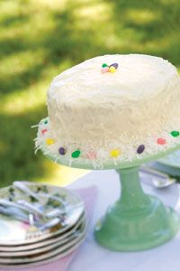 """~Easter Almond Cake~ From Cooking with Paula Deen. Start out with a super-moist white cake mix. The Frosting is the """"making"""" of this cake w/cream cheese, confectioners' sugar, butter and almond extract."""