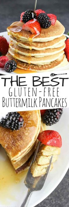 The best gluten-free buttermilk pancake recipe, the only recipe needed for light, fluffy classic buttermilk pancakes. There are only 77 calories per pancake! Gluten Free Recipes For Breakfast, Gluten Free Breakfasts, Gluten Free Desserts, Dairy Free Recipes, Easy Recipes, Paleo Breakfast, Breakfast Ideas, Healthy Brunch, Healthy Meals