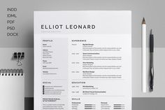 FREE DOWNLOAD! Resume/CV - Elliot by bilmaw creative on Creative Market